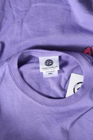 Дамска тениска Simply Southern, Размер S, Цвят Лилав, Памук, Цена 11,18лв.