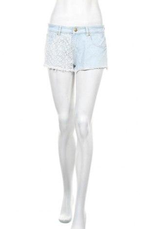 Дамски къс панталон Denim&Co., Размер S, Цвят Син, Памук, Цена 14,28лв.