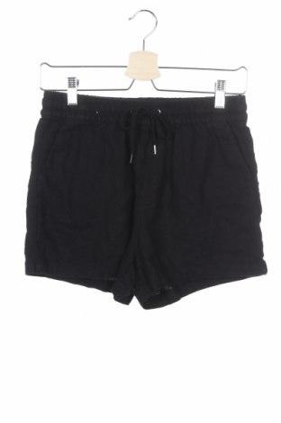 Дамски къс панталон H&M L.O.G.G., Размер XS, Цвят Черен, 55% лен, 45% вискоза, Цена 15,64лв.