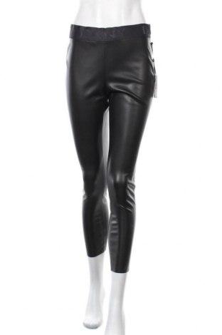 Дамски кожен панталон DKNY, Размер S, Цвят Черен, Еко кожа, Цена 75,60лв.