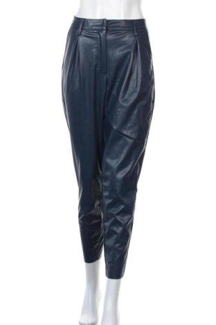 Дамски кожен панталон Who What Wear, Размер S, Цвят Син, Еко кожа, Цена 36,57лв.
