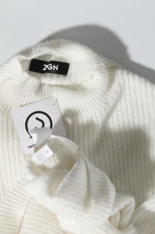 Дамски пуловер Zign, Размер S, Цвят Бял, 62% полиестер, 34% полиакрил, 4% еластан, Цена 42,00лв.
