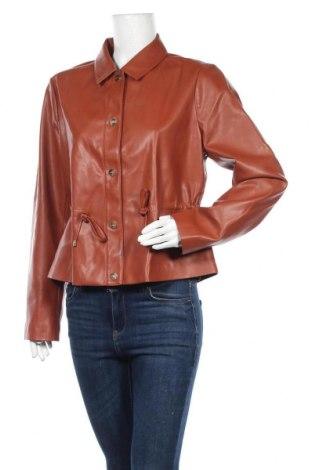 Дамско кожено яке, Размер L, Цвят Кафяв, Еко кожа, Цена 28,80лв.