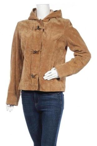 Дамско кожено яке Esprit, Размер M, Цвят Бежов, Естествен велур, Цена 46,11лв.