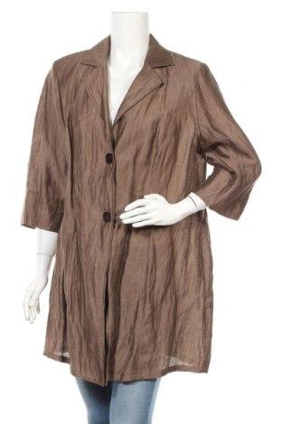 Дамско палто Selection By Ulla Popken, Размер L, Цвят Кафяв, 86% лен, 14% полиамид, Цена 36,00лв.