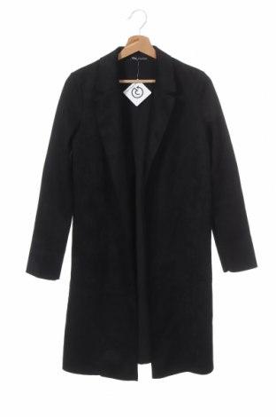 Дамско палто Zara, Размер XS, Цвят Черен, 94% полиестер, 6% еластан, Цена 41,76лв.