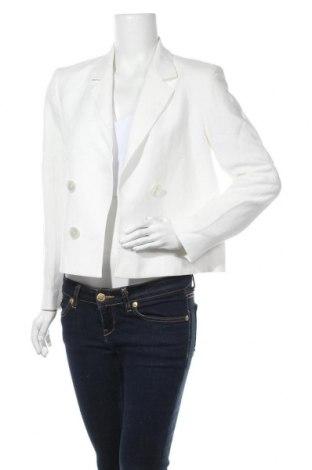 Дамско сако Massimo Dutti, Размер M, Цвят Бял, 79% вискоза, 21% лен, Цена 52,92лв.