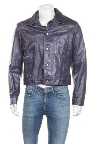 Мъжко кожено яке Armani Jeans, Размер L, Цвят Лилав, Естествена кожа, Цена 142,04лв.