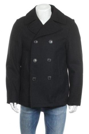 Мъжко палто H&M L.O.G.G., Размер M, Цвят Черен, 80% вълна, 20% полиамид, Цена 60,52лв.