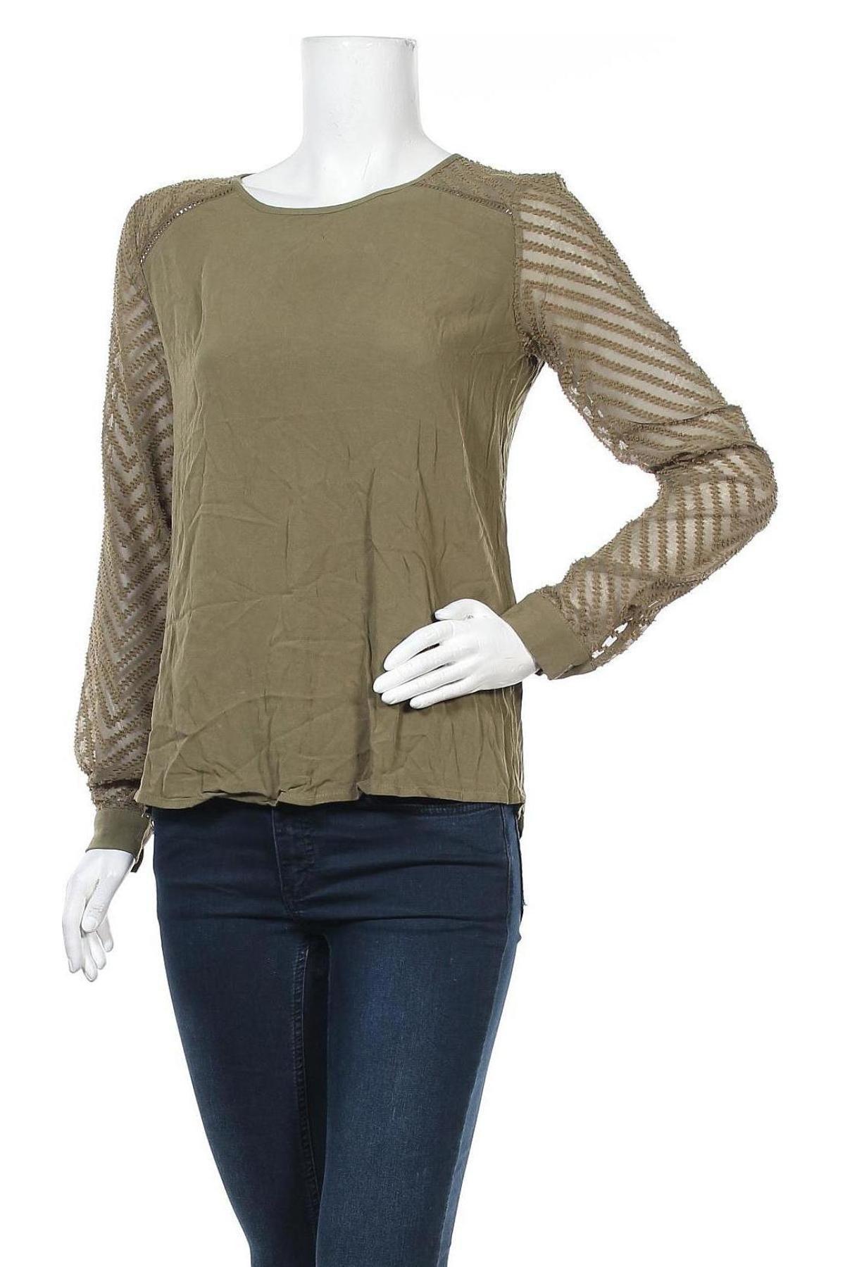Дамска блуза Object, Размер XS, Цвят Зелен, Вискоза, Цена 39,00лв.