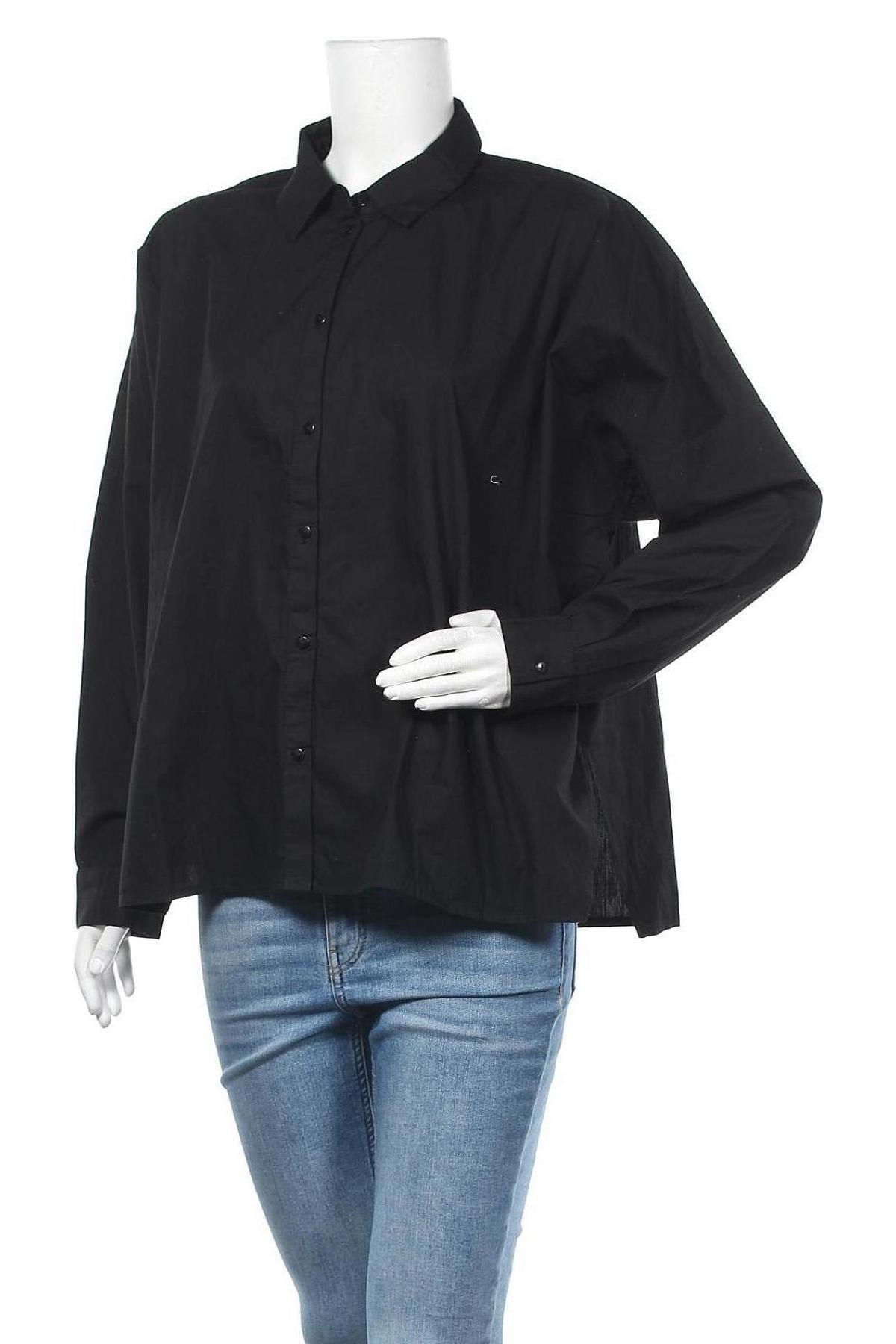 Γυναικείο πουκάμισο Pieces, Μέγεθος XXL, Χρώμα Μαύρο, Βαμβάκι, Τιμή 18,95€