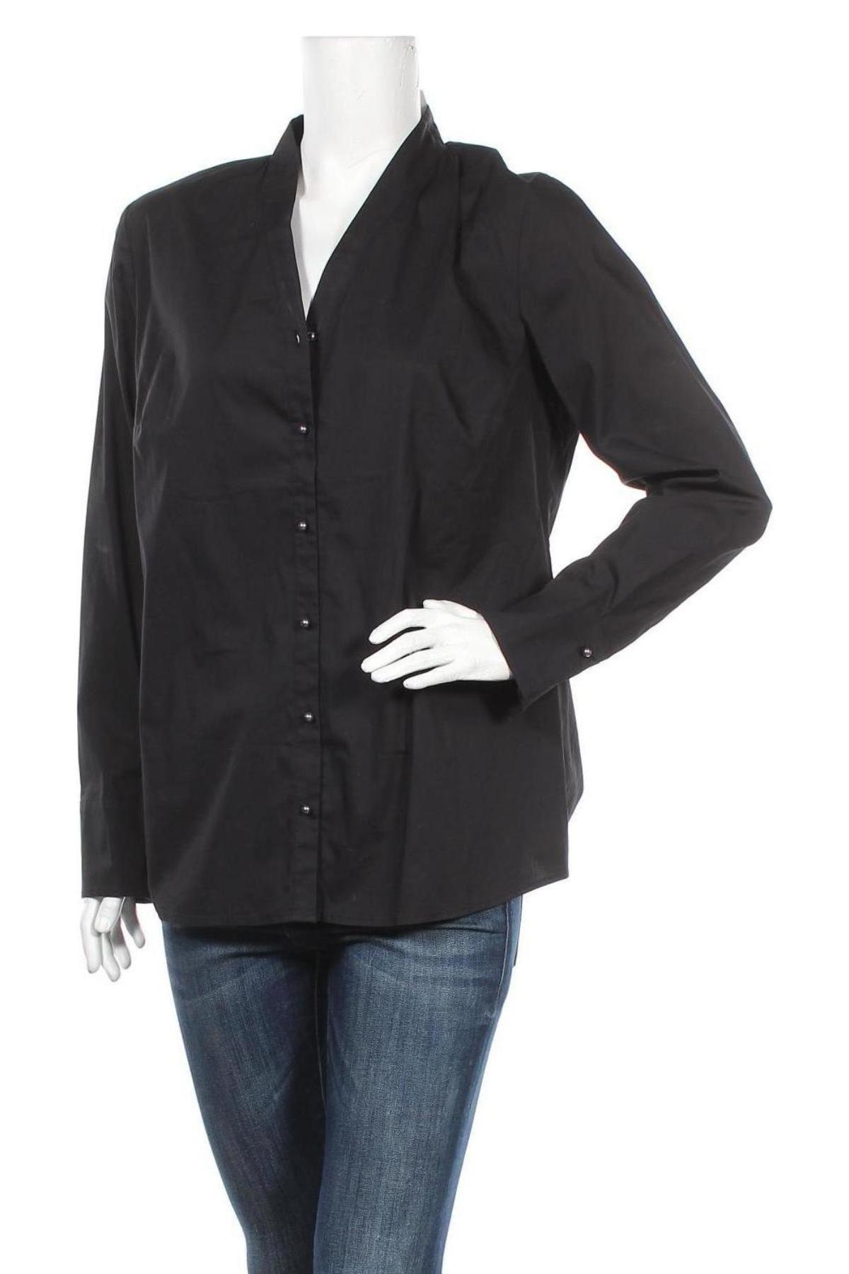 Дамска риза S.Oliver, Размер XL, Цвят Черен, 75% памук, 22% полиамид, 3% еластан, Цена 16,24лв.