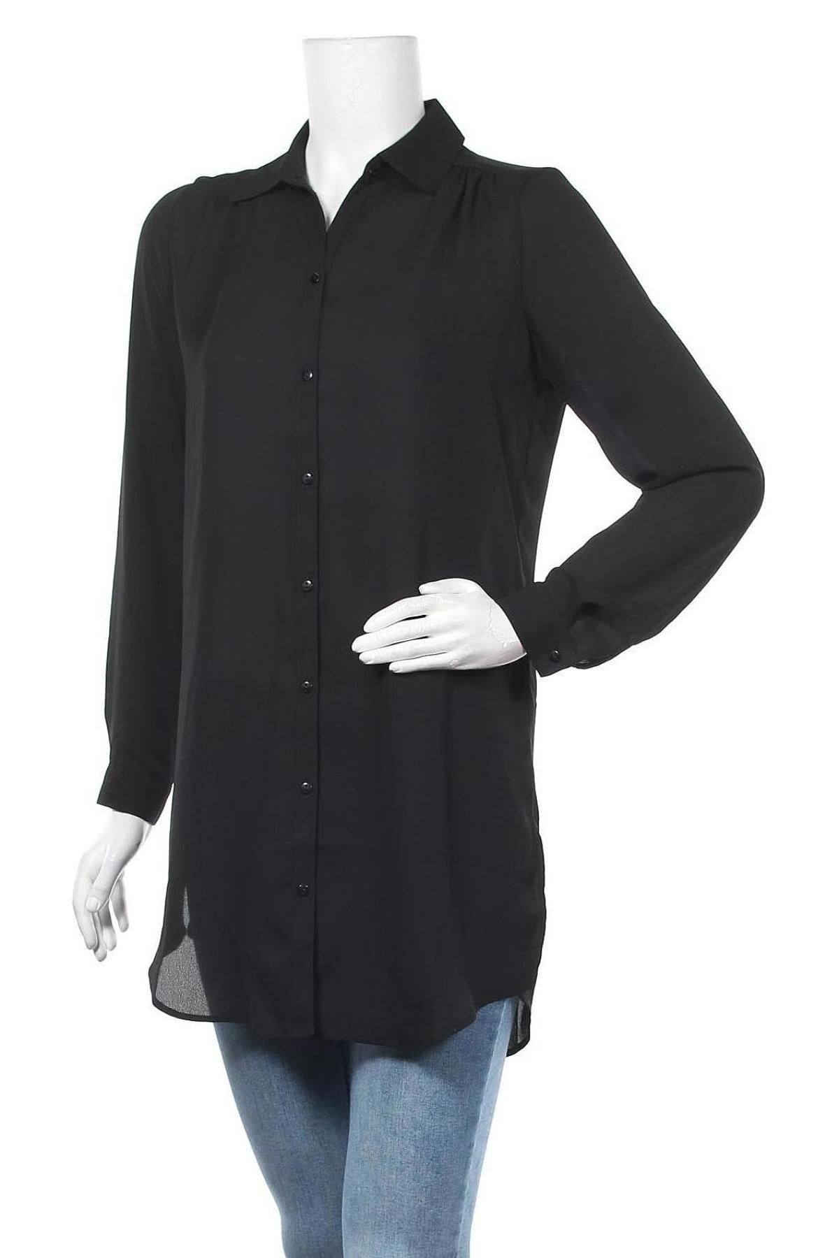 Дамска риза Vila, Размер XS, Цвят Черен, Полиестер, Цена 18,60лв.