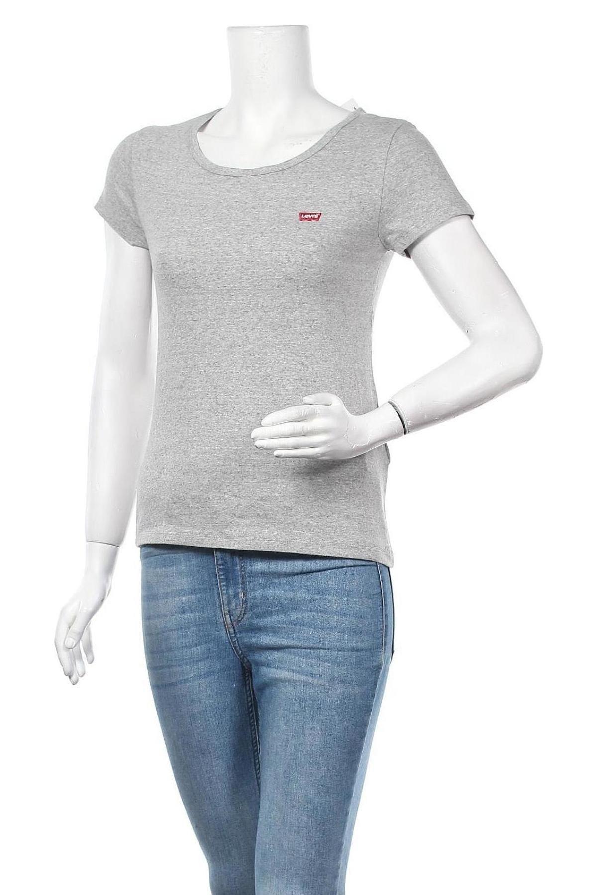 Дамска тениска Levi's, Размер M, Цвят Сив, Памук, Цена 39,00лв.