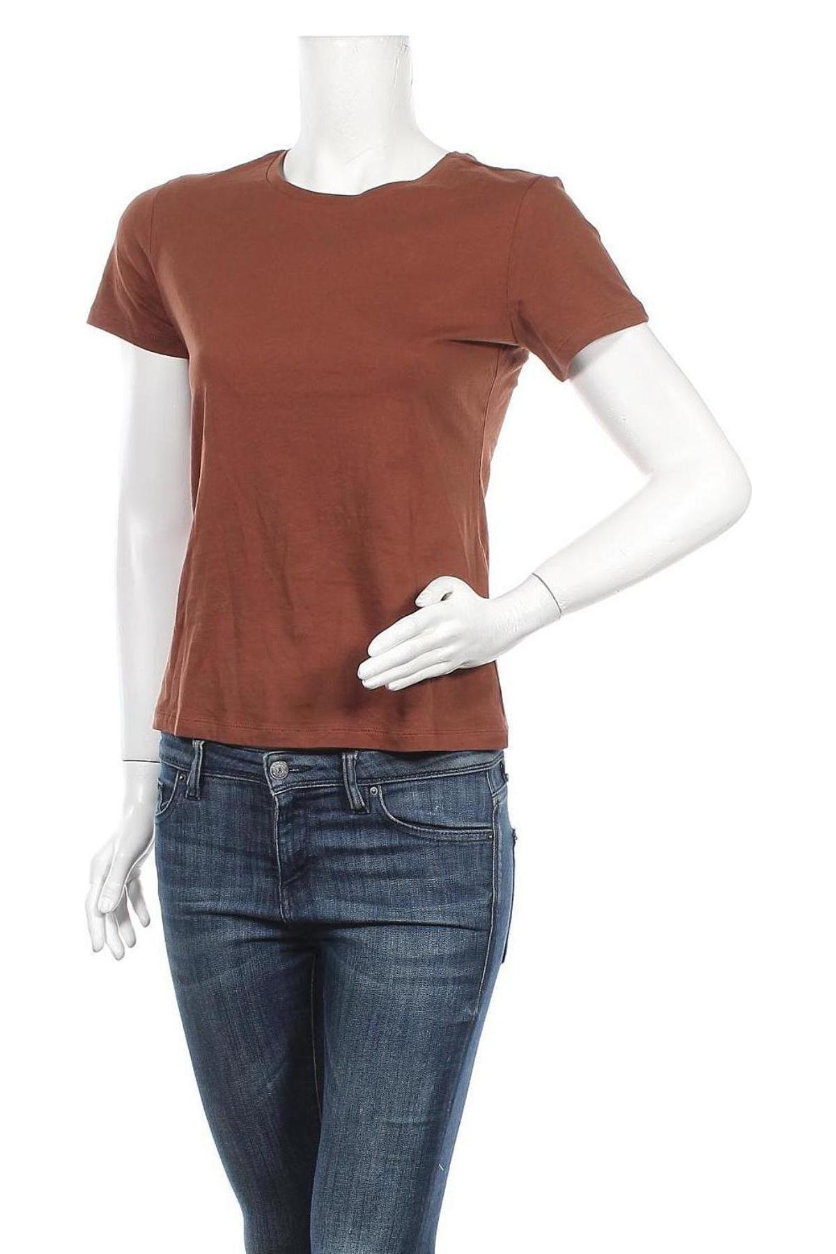 Дамска тениска ONLY, Размер S, Цвят Кафяв, Памук, Цена 14,84лв.