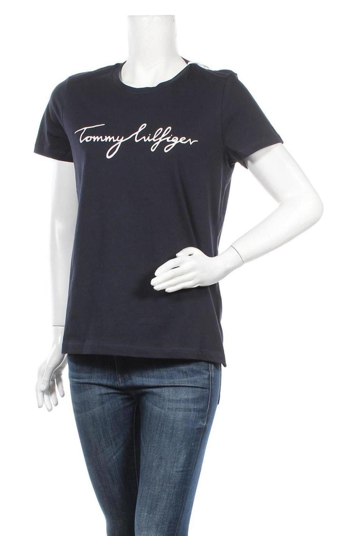 Дамска тениска Tommy Hilfiger, Размер L, Цвят Син, Памук, Цена 96,75лв.