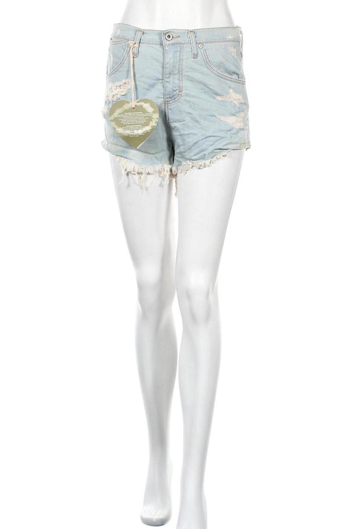 Pantaloni scurți de femei Please, Mărime M, Culoare Albastru, 98% bumbac, 2% elastan, Preț 219,57 Lei