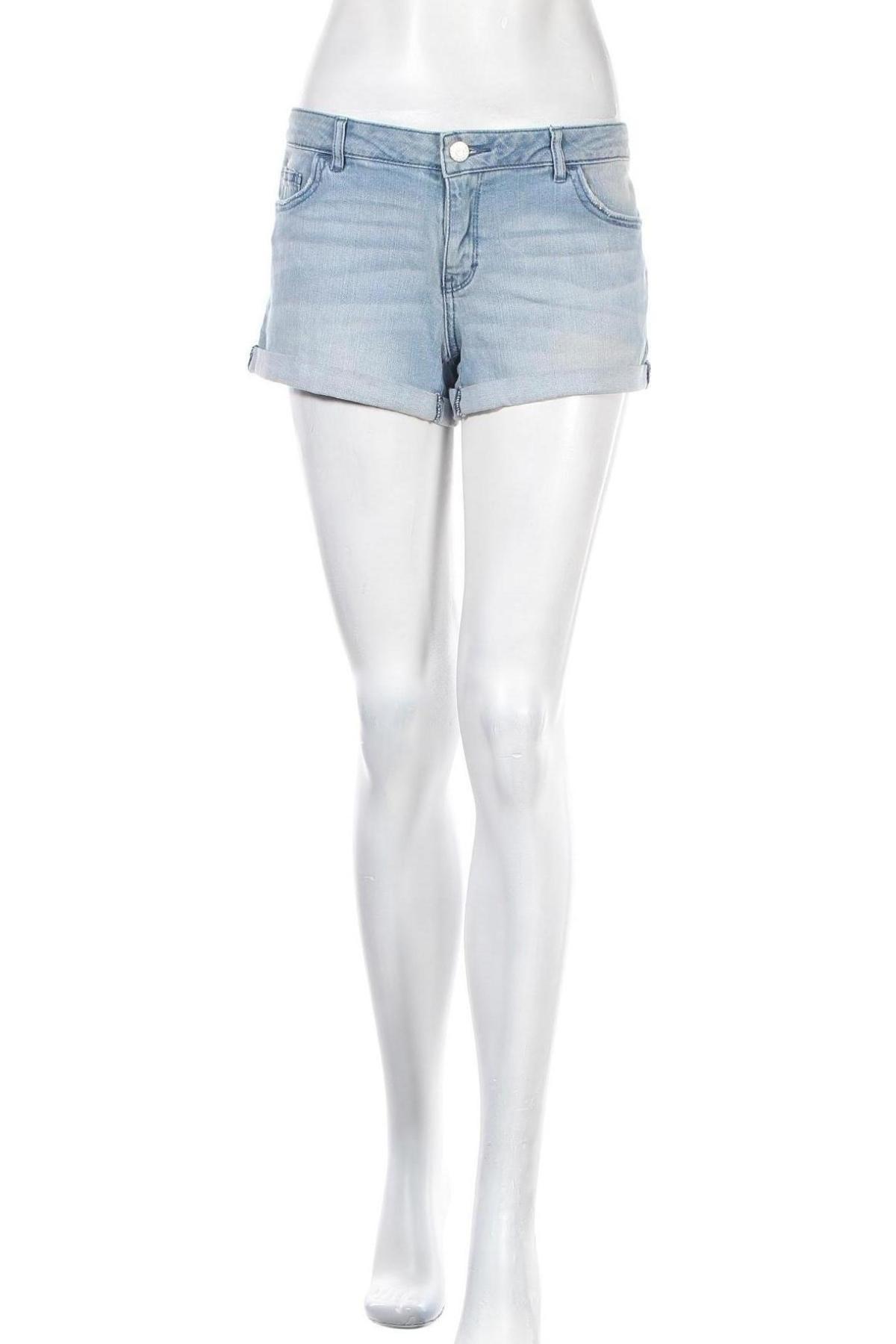 Дамски къс панталон Review, Размер L, Цвят Син, 98% памук, 2% еластан, Цена 24,36лв.