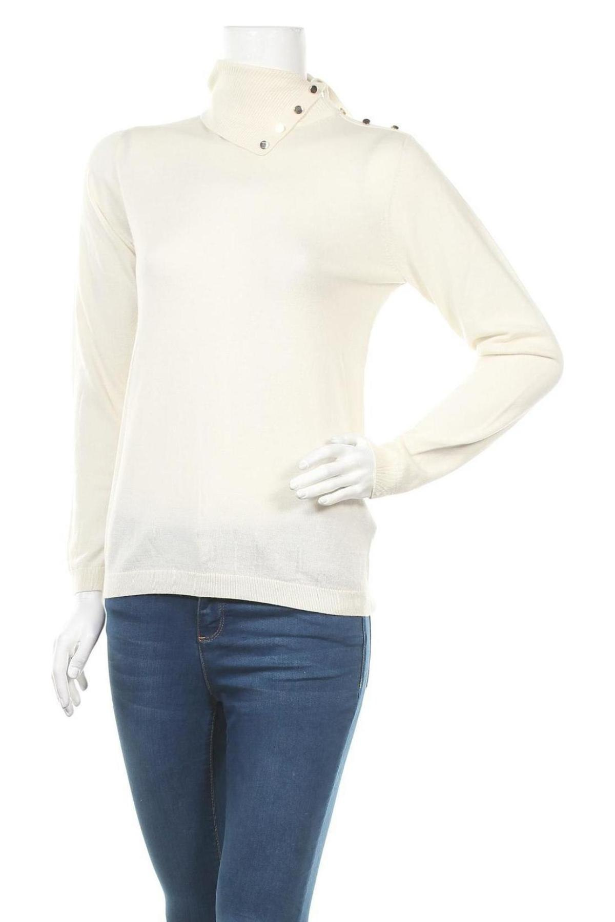 Дамски пуловер Massimo Dutti, Размер S, Цвят Екрю, 80% вълна, 20% коприна, Цена 81,75лв.