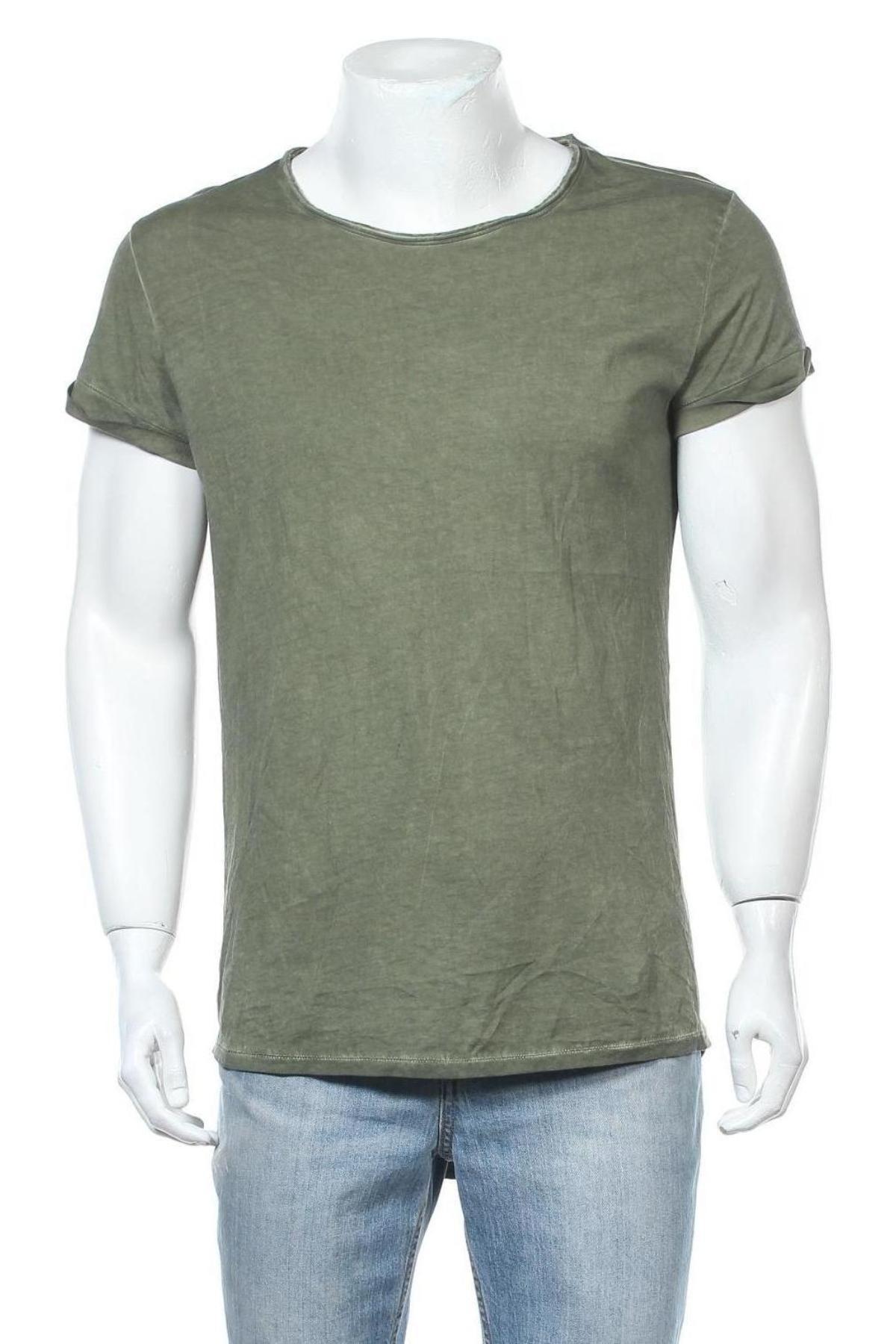 Мъжка тениска Tigha, Размер M, Цвят Зелен, Памук, Цена 54,00лв.