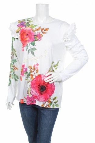 Γυναικεία μπλούζα Desigual, Μέγεθος XL, Χρώμα Λευκό, 95% πολυεστέρας, 5% ελαστάνη, Τιμή 13,76€