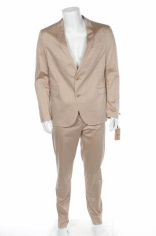 Męski garnitur Drykorn for beautiful people, Rozmiar L, Kolor Beżowy, 96% bawełna, 4% elastyna, Cena 440,83zł