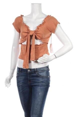 Дамска блуза Active Basic USA, Размер L, Цвят Кафяв, 48% вискоза, 48% полиестер, 4% еластан, Цена 8,53лв.