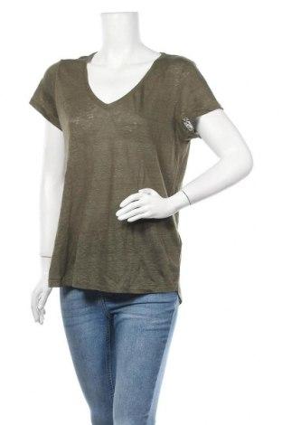 Дамска блуза H&M L.O.G.G., Размер L, Цвят Зелен, Лен, Цена 27,30лв.