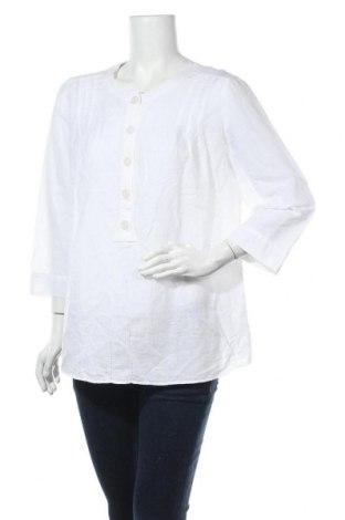 Дамска блуза Marks & Spencer, Размер XL, Цвят Бял, 60% лен, 40% памук, Цена 14,96лв.