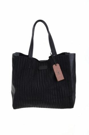 Дамска чанта Beverly Hills Polo Club, Цвят Черен, Естествена кожа, Цена 123,37лв.