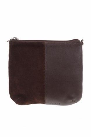Дамска чанта Furla, Цвят Кафяв, Естествена кожа, естествен велур, Цена 114,24лв.