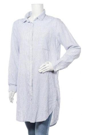 Дамска риза H&M L.O.G.G., Размер L, Цвят Син, 55% лен, 45% памук, Цена 23,52лв.