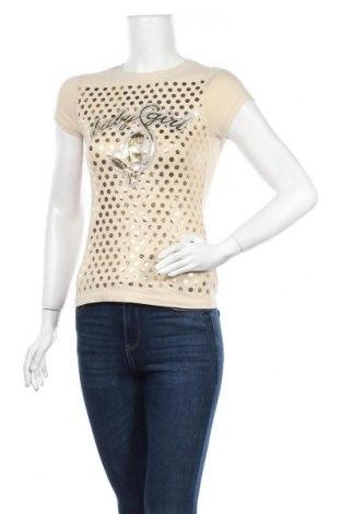 Дамска тениска, Размер S, Цвят Бежов, 95% памук, 5% еластан, Цена 21,84лв.