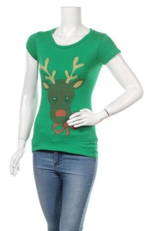 Дамска тениска, Размер S, Цвят Зелен, Памук, Цена 11,76лв.