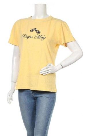 Дамска тениска, Размер L, Цвят Жълт, Памук, Цена 19,11лв.