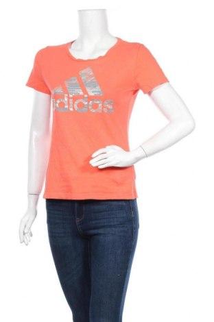 Дамска тениска Adidas, Размер S, Цвят Оранжев, Цена 25,20лв.