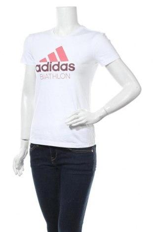 Γυναικείο t-shirt Adidas, Μέγεθος S, Χρώμα Λευκό, Βαμβάκι, Τιμή 17,66€