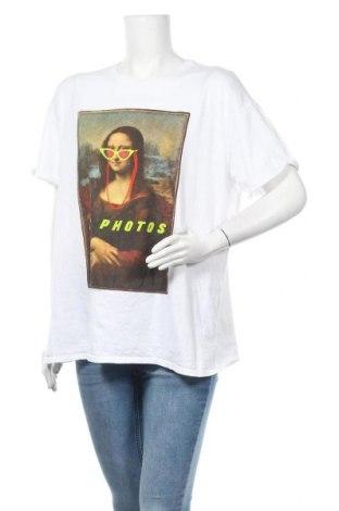 Дамска тениска Bershka, Размер M, Цвят Бял, 100% памук, Цена 14,96лв.