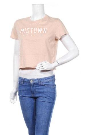 Дамска тениска H&M Divided, Размер M, Цвят Бежов, Памук, Цена 10,24лв.