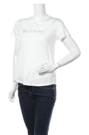 Дамска тениска Massimo Dutti, Размер M, Цвят Бял, 67% лиосел, 33% памук, Цена 16,00лв.