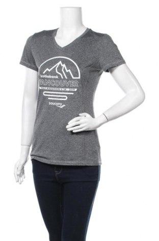 Γυναικείο t-shirt Saucony, Μέγεθος S, Χρώμα Γκρί, Πολυεστέρας, Τιμή 7,73€