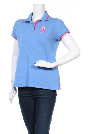 Дамска тениска U.S. Polo Assn., Размер L, Цвят Син, 95% памук, 5% еластан, Цена 30,24лв.