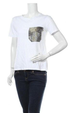 Дамска тениска Zara Trafaluc, Размер M, Цвят Бял, Памук, Цена 17,96лв.