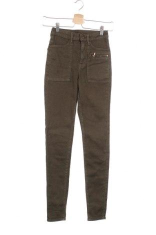 Дамски дънки H&M Divided, Размер XXS, Цвят Зелен, 79% памук, 19% полиестер, 2% еластан, Цена 17,64лв.