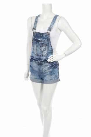 Дамски гащеризон Denim&Co., Размер S, Цвят Син, 80% памук, 20% полиестер, Цена 23,10лв.