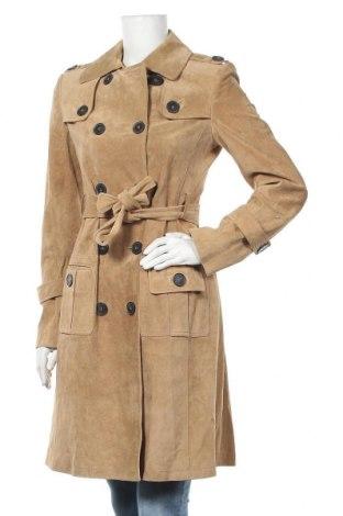 Дамски кожен шлифер Strenesse, Размер S, Цвят Бежов, Естествена кожа, Цена 203,28лв.