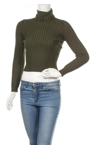 Дамски пуловер Zara Knitwear, Размер L, Цвят Зелен, Цена 26,25лв.