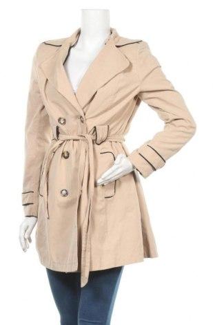 Дамски шлифер Naf Naf, Размер M, Цвят Бежов, 53% полиестер, 36% памук, 11% полиамид, Цена 42,57лв.