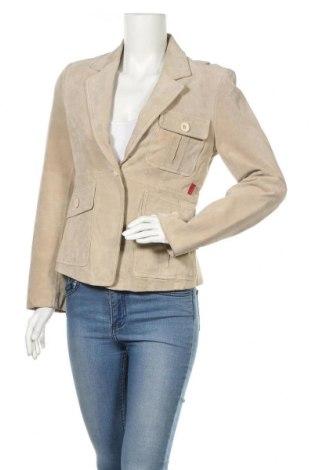 Дамско кожено сако Lee Cooper, Размер S, Цвят Бежов, Естествен велур, Цена 57,96лв.