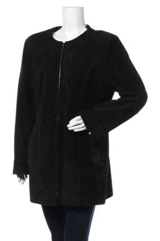 Дамско кожено яке, Размер XL, Цвят Черен, Естествен велур, Цена 54,18лв.